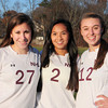 Newburyport High soccer players Shannon Tinkham, Elizabeth Lynch and Alexandra. Bryan Eaton/Staff Photo