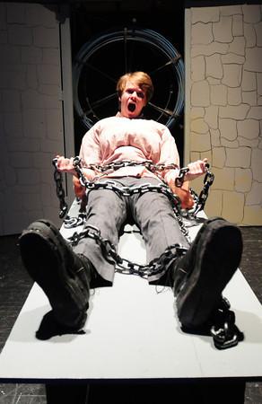 "Newburyport: Morgan Pyle in the title role of the play ""Frankenstein"" in the Newburyport High School production. Bryan Eaton/Staff Photo"