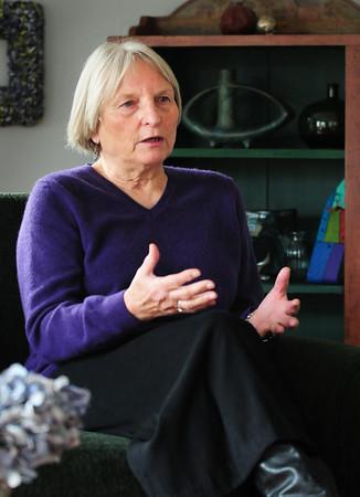 BRYAN EATON/Staff Photo. Inga Wennik of Newbury talks about coming from Germany.