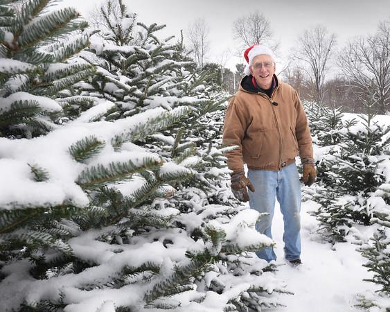 BRYAN EATON/ Staff Photo. John Elwell opened his West Newbury Christmas tree farm for the short season on Friday.