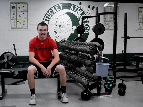 JIM VAIKNORAS/Staff photo Pentucket's Pat Beaton in the school's weight room, Beaton missed teh 2014 football season with an injury.