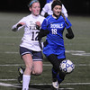 JIM VAIKNORAS/Staff photo  Georgetown's Jennifer Migliaccio fights for the ball with East Bridgewater's Jackie Gavin during their game at Manning Field in Lynn. Georgetown lost the game 2-0.