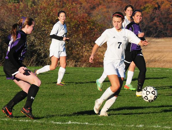 BRYAN EATON/ Staff Photo. Triton's Shauna Murrin tries to catch up to the ball on a Shawsheen advance.