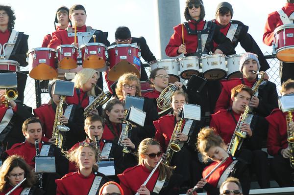 JIM VAIKNORAS/Staff photo The Amesbury band performs at the Newburyport /Amesbury Thanksgiving football game at World War Memorial Stadium.