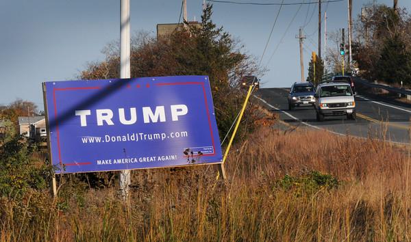 BRYAN EATON/Staff Photo. Donald Trump sign on the Plum Island Turnpike.