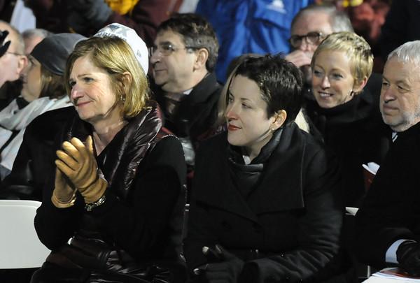 BRYAN EATON/Staff Photo. Mary Anne Clancy, left, who was instrumental in the renovation of Newburyport High's stadium applauds Jim Stehlin.