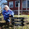 "BRYAN EATON/Staff photo. Katie Johnson's husband Chuck is building a free ""little library"" outside their Amesbury home at 237 Elm Street at Goss Avenue."