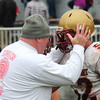 JIM VAIKNORAS/Staff photo  Amesbury coach Glen Gearin talks with  Newburyport senior Brian Toolan  at Amesbury Thursday.  Amesbury defeated Newburyport  22-17.