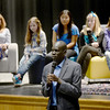 BRYAN EATON/Staff photo. Salva Dut, one of the Lost Boys of Sudan, takes questions from students at the Nock Middle School in Newburyport.
