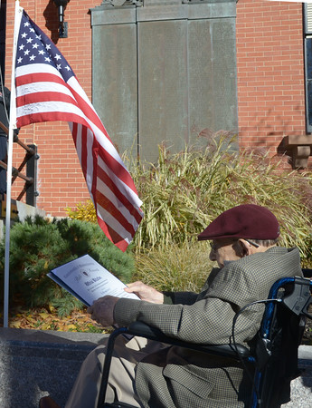JIM VAIKNORAS/Staff photo World War 2 veteran Al Hirsch who turn 100 years old this month was honored at the Veterans Day service at Newburyport City Hall Friday .