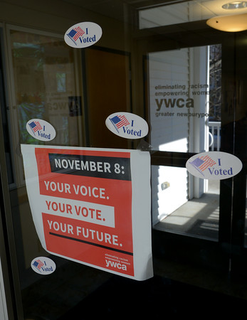JIM VAIKNORAS/Staff photo I Voted stickers on the door to the YWCA on Market Street in Newburyport the Y is asking for poeple to affix their stickers to their front doors to show you voted, and honor those who fought to give us the right to select our leaders and way of life.