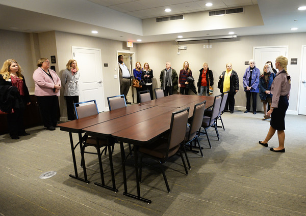 BRYAN EATON/Staff photo. The Hampton Inn in Amesbury held a grand opening on Tuesday. After the ribbon-cutting, attendees toured the hotel including the conference room pictured here.