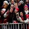 JIM VAIKNORAS/Staff photo  Amesbury fan cheer the Indian's victory over  Newburyport  at Amesbury Thursday.  Amesbury defeated Newburyport  22-17.