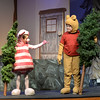 "BRYAN EATON/Staff photo. The Theater Workshop at Newbury Elementary School puts on ""Christmas in the Woods."" Kaeden Carlson as ""Piglet"" asks David Pugh as ""Pooh"" why he brought a Christmas tree for the Rabbit as she already has one."