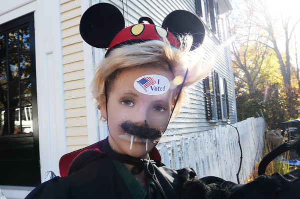 """BRYAN EATON/Staff photo. Someone with a sense of humor stuck an """"I Voted"""" sticker on a Halloween manequin at Newburyport's Ward One station next to the People's United Methodist Church on Purchase Street."""