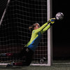 JIM VAIKNORAS/Staff photo Newburyport goalie Jen Stuart with a save on a PK against  North Reading at the Manning Field in Lynn Saturday night.
