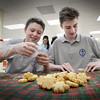 BRYAN EATON/Staff photo. Parent volunteers and students at the Immaculate Conception School in Newburyport were busy wrapping boxes as a backdrop and packaging sugar cookies to pass out on the train for their 16th year of running the Polar Express fundraiser which is sold out. Packaging the cookies Tuesday afternoon were Aidan Geary, 14, left, and Owen Reid, 13, among others.