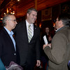 BRYAN EATON/Staff photo. Rep. James Kelcourse greeted supporters at the Ale House in Amesbury including fellow legislator Lenny Mirra, left, and Newburyport Ward 5 councilor Larry Giunta.