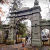 BRYAN EATON/Staff photo. Haverhill native Keith McLeod, on ladder, of McLeod Metal Works in Parsonsfield, Maine has been contracted to remove and repair the iron gates of the John S. Tappan arch at the Oak Hill Cemetery in Newburyport built in 1863.
