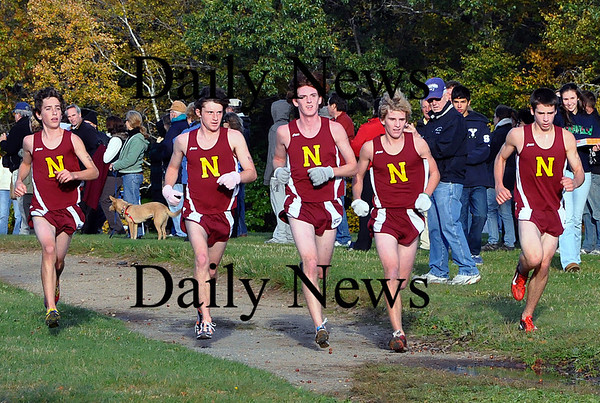 Newburyport- Chris Jayne, Chris Suprin, Brian Morris, Graig Englehart and Sean Hickman finish their cross country race in the first five places on Wednesday afternoon. Brett Languirand/Staff photo
