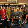 Amesbury: Amesbury High School students Anthony Nadeau, Matt Camilliere, Niles Farnham, Aisa Elfiki, Sarah Abraham and Paige De George accept their raffle prizes from Principal Les Murray as Teen Read Week comes to a close.  Rachel Pelletier and Steven Kligerman (not shown) also were winners of the raffle.  Brett Languirand/Staff photo
