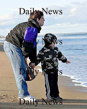 Salisbury-Kari Boverhof and her son Justin stop at Salisbury Beach while traveling from New Aygo, Michigan to Burlington, Vermont on Wednesday afternoon.  Brett Languirand/Staff photo