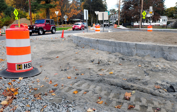 Newburyport: The paver stones at the roundabout at the end of Merrimac Street in Newburyport have been removed. Bryan Eaton/Staff Photo