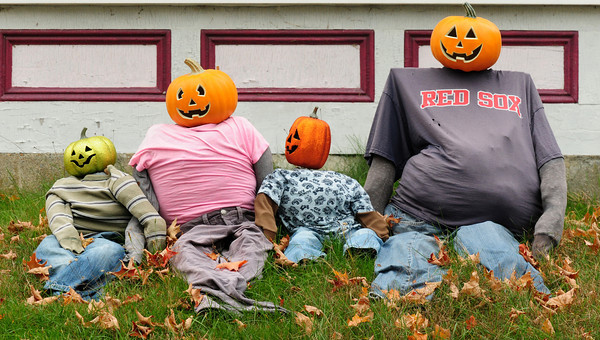 Amesbury: One family on Elm Street in Amesbury who put out a Halloween display likely will have their eyes on the World Series of Baseball. Bryan Eaton/Staff Photo