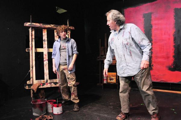 "Newburyport: Glenn Provost, left, as ""Ken"" and Joe Dominquez as ""Mark Rothko"" rehearse a scene from ""Red."" Bryan Eaton/Staff Photo"