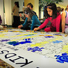 Newburyport: All grades at the River Valley Charter School attended anti-bullying presentations througout the school on Tuesday morning. Here, one class of younsters took their turn at making a Kids as Peacemakers mural with each filling in a piece of the puzzle. Bryan Eaton/Staff Photo