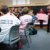 Newburyport: Marilyn Flaherty, center with a prop check, listens as Newburyport High teacher Susan Galvin thanks students for helping to raise funds for Making Strides Against Breast Cancer. Flaherty, who was first diagnosed 31 years ago and has been active in the cause also thanked the children for raising $4,000. Bryan Eaton/Staff Photo