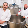Amesbury: Luca Mignogna, left, and Leonard Tummolo will be making cheeses in these tuns at their Wolf Meadow Farm cheese shop on High Street in Amesbury later this week. Bryan Eaton/Staff Photo