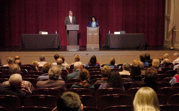 Newburyport: Roughly 130 people showed up at Newburyport High School to hear a debate between Mayor Donna Holaday and challenger Richard Sullivan, Jr. Bryan Eaton/Staff Photo