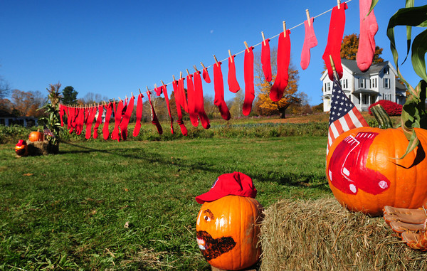 West Newbury: Brown Spring Farm owner Elaine Drolet and her friend Linda Parsons show off their pride for the Boston Red Sox with a display of painted pumpkins and laundry line filled with red socks at the West Newbury site. Newburyport Christy Haley, manager of Abraham's Bagels, Craig Pessina of West Newbury and Liz Morrison owner of AllBoutDogs in Newburyport. Bryan Eaton/Staff Photo