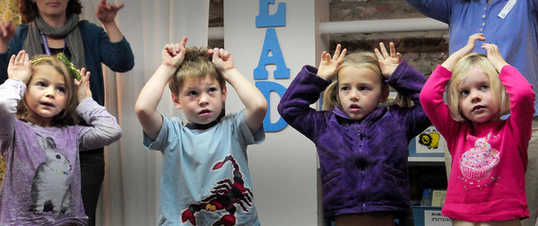 "Newburyport: Youngsters at the Newburyport Montessori School show off their moth antennae in a program ""Butterflies and Bugs"" on Tuesday in a program by Lisa Hutchings from Audubon Society Joppa Flats Education Center. Bryan Eaton/Staff Photo"