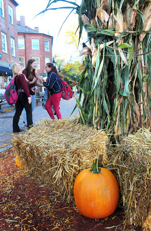 Newburyport: The Greater Newburyport Chamber of Commerce and Industry decorated Market Square with haybales, pumpkins and cornstalks on Wednesday in time for this weekend's Fall Harvest Festival. Bryan Eaton/Staff Photo