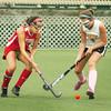 Amesbury: Amesbury's Amanda Schell, left, and Newburyport's Marie Cahalane battle for control of the ball. Bryan Eaton/Staff Photo