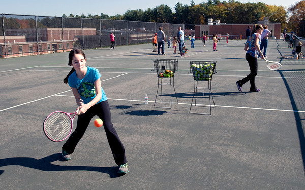 Amesbury: The Amesbury Recreation Department hosted a US Tennis Association Free Tennis Event on Saturday at Amesbury High. Allie Lebreque, 10, of Amesbury was one of the 40 youngsters who participated in the event designed to get children active and involved in tennis. Bryan Eaton/Staff Photo