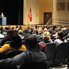 Amesbury: A large crowd turned out at Amesbury High School's auditorium to see the debate between Amesbury mayor Thatcher Kezer and his opponent Ken Gray. Bryan Eaton/Staff Photo