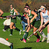 Byfield: Pentucket's Carley Desjardins, left, and Triton's Emily Hirtle chase the ball in Byfield. Bryan Eaton/Staff Photo