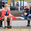 Newburyport: Deven Johnson, 13, and Caroline Link , 13, drink hot chocolate in Market Square Friday, both are studenta at the River Valley Charter School and had the day off due to a teacher development day. Jim Vaiknoras/staff photo