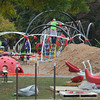 Amesbury: Volunteers work on the new playground equiptment at Amesbury Park Saturday afternoon. Jim Vaiknoras/staff photo