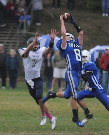 Georgetown: Georgetown's Cooper Martens intercepts a pass intended for Lynnfield's Matthew Kramich during their game at Georgetown Saturday. Jim Vaiknoras/staff photo