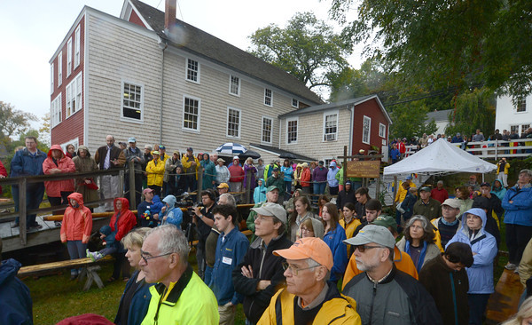 Amesbury: A crowd gathers at the Lowell Boat shop for the launching of a whale boat built at the shop. Jim Vaiknoras/staff photo