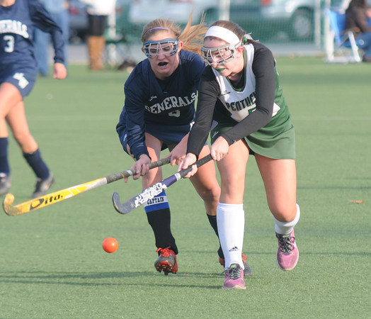 Amesbury: Pentucket's Rachel Perry fights for the ball against Hamilton-Wenham during their game at Amesbury Sports Park Friday. Jim Vaiknoras/staff photo