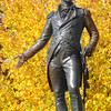 Newburyport: The Washington statue at the Bartlet Mall in Newburyport is framed by bright yellow fall foliage Sunday afternoon. Jim Vaiknoras/staff photo