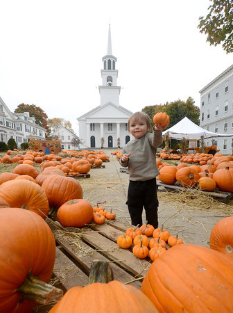 Amesbury: Quint Kelly, 2, checks out the over 1000 pumpkins at the Central Congragational Church in Amesbury Thursday afternoon. jim vaiknoras/staff photo