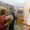 Newburyport: Dr Peter Hartmann and Patricia Gerrish look on as Curtis Gerrish cut sthe ribbon at the Gerrish Breast Care Center at the Anna Jaques Hospital Thursday night.Named in honor of a major donation from the Gerrish Family Foundation, the Gerrish Breast Care Center unifies the hospital's team of professionals and resources across specialties to ensure the highest standard of care and seamless coordination of services.    Jim Vaiknoras/staff photo
