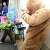 Newburyport: Jack Staunton , 6, dressed as the Hulk prepares to smash the Brown School bear at the Brown School and Newburyport Elementary PTO  annual BOO BASH Fridat night. Jim Vaiknoras/staff photo