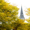 Amesbury: Changing autumn leaves in Market Square in Amesbury frame the steeple of the Market Street Baptist Church. Jim Vaiknoras/staff photo